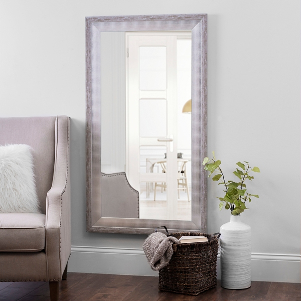 Marvelous Whitewashed And Silver Foil Wall Mirror