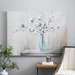 Cotton Bouquet in Bottle Canvas Art Print
