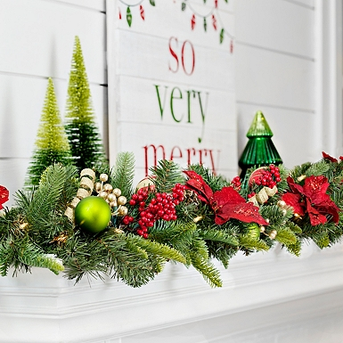 pre lit gold and red poinsettia garland - Decorated Christmas Trees For Sale
