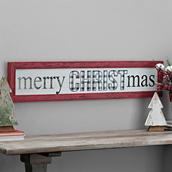 Merry Christmas Buffalo Check Framed Wall Plaque
