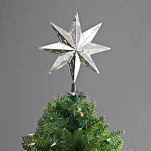 Pre-Lit Galvanized Metal Star Tree Topper