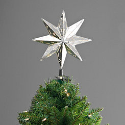 Pre-Lit Galvanized Metal Star Tree Topper
