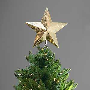 Pre-Lit Champagne Gold Star Tree Topper
