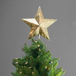 Pre-Lit Champagne Gold Star Tree Topper