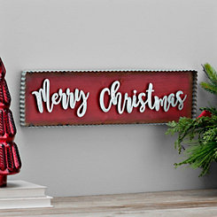 Galvanized Metal Merry Christmas Wall Plaque