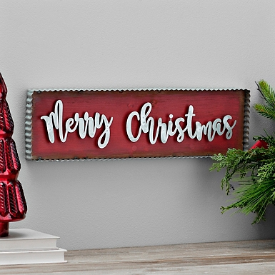 Galvanized Metal Merry Christmas Wall Plaque