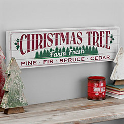 Christmas Tree Farm Wooden Plank Wall Plaque