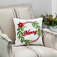 Merry Wreath Typography Pillow