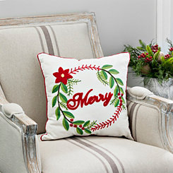 Merry Wreath Typography Pillow