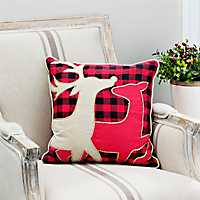 Reindeer Silhouettes Buffalo Check Pillow