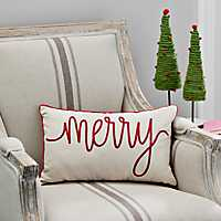 Red and Ivory Merry Typography Accent Pillow