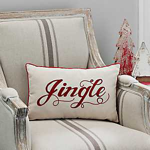 Red and Ivory Jingle Accent Pillow