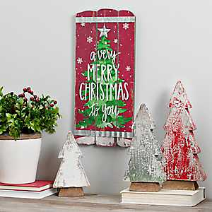 Merry Christmas Wooden Plank Wall Plaque