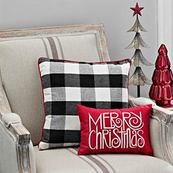 Merry Christmas Modern Typography Accent Pillow