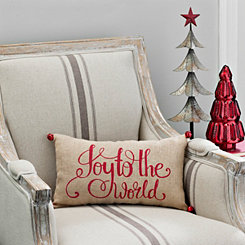 Red Joy To The World Burlap Accent Pillow