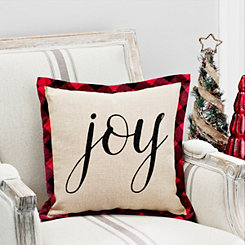 Joy Burlap Pillow With Buffalo Check Flange