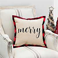 Merry Burlap Pillow With Buffalo Check Flange