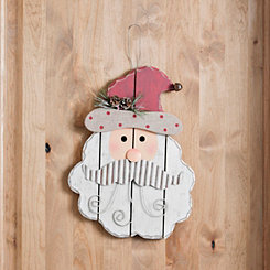Santa Wooden Head Christmas Wall Décor