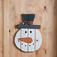 Snowman Wooden Head Christmas Wall Decor