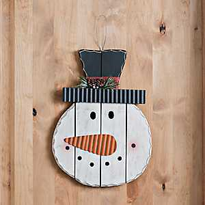 Snowman Wooden Head Christmas Wall Decor