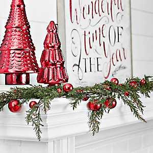 Red Mercury Glass Ornament Cypress Garland