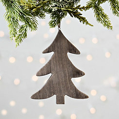 Gray Wooden Christmas Tree Ornament