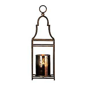 Dark Gold Metal and Glass Lantern