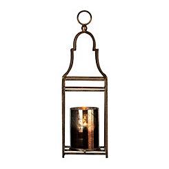 Dark Gold Metal and Glass Lantern