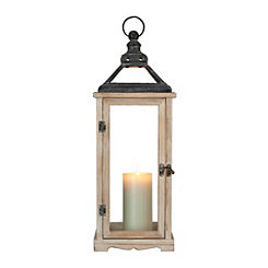 Natural Rustic Wood and Metal Lantern