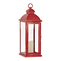 Red Metal LED Lantern