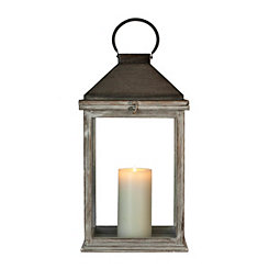Whitewashed Riley Wood and Metal Lantern