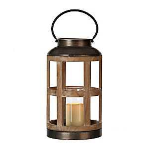 Reese Round Wood and Metal Lantern