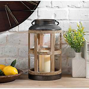 Reese Round Wood and Metal Lantern