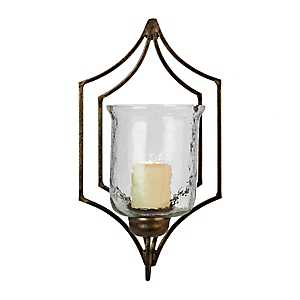 Gold Metal and Clear Glass Wall Sconce