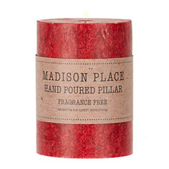 Unscented Red Quartz Pillar Candle, 4 in.