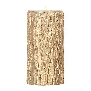 Gold Glitter Bark Unscented Pillar Candle, 6 in.