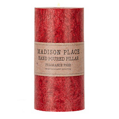 Unscented Red Quartz Pillar Candle, 6 in.