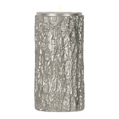 Silver Glitter Bark Unscented Pillar Candle, 6 in.