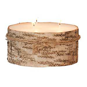 Large Birch Bark Pillar Candle, 3 in.