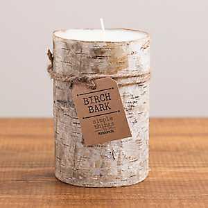 Wide Birch Bark Pillar Candle, 6 in.