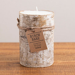 Wide Birch Bark Pillar Candle, 6 in.