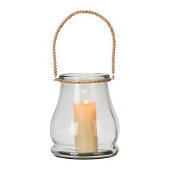 Clear Glass Lantern with Beaded Handle