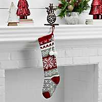 Knit Red and Gray Snowflake Stocking