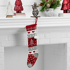 Knit Red and Gray Christmas Tree Stocking