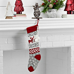 Knit Red and Gray Moose Stocking