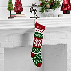 Knit Red And Green Snowflake Stocking