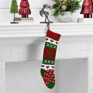 Knit Red And Green Christmas Tree Stocking