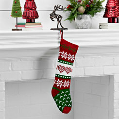 Knit Red and Green Heart Stocking