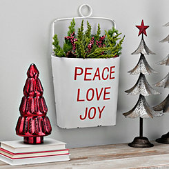 Peace Love Joy Metal Wall Bucket