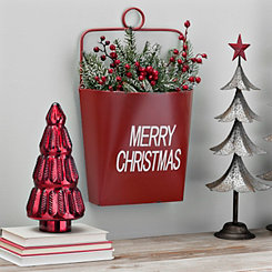 Merry Christmas Metal Wall Bucket